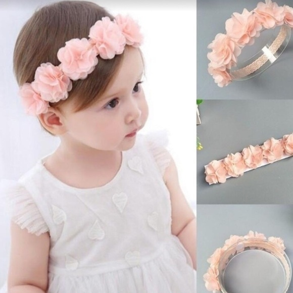 Other - Pretty pink floral headband baby girl